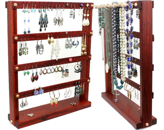Bloodwood Jewelry Holder with Necklace Rack